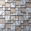 Mosaïque mélangée en cristal d'acier inoxydable de Goldleaf, décoration de mosaïque, matériaux de construction