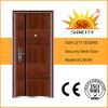 Parrilla de hierro Puerta diseños de la piel de la puerta de metal de acero de China puerta Precios (SC-S049)