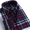 Mann-Flanell-Plaid-langes Hülsen-Hemd