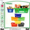 Panier à provisions en plastique de supermarché avec le traitement en métal