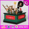 Caja de música de madera del regalo 2015 para los cabritos, caja de música de madera de los niños del carrusel de los artes, juguetes de madera de la caja de música para el regalo W07b020A de la promoción