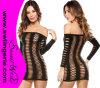 Agujero Net de Shoulder Sexy Babydoll Lingerie Dress Z01-Black