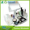 Organizador de acrílico de la visualización del maquillaje cosmético de lujo con el espejo bilateral