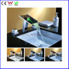 Double Handle Hydraulic 3 Color Brass LED Basin Faucet (FD15104F)