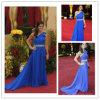 Chiffon do azul real um vestido de noite do ombro (XZ469)