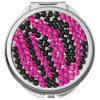 ピンクの(黒い)シマウマの水晶JewledコンパクトなMirror/Pocketミラー(CMMR-31)