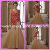 赤いレースのイブニング・ドレスの金のテュルの人魚の婚礼衣裳N13074