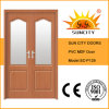 MDF moderno Doors do PVC de Double Wooden com Glass Window (SC-P129)