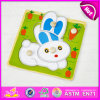 2015 New Arrival Kids Jigsaw Puzzle Game, Rabbit Shape Children Wooden Puzzle Toy, moderno jogo de puzzle de madeira para o Natal W14m069