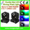 Nouvelle double lumière principale mobile de lavage du côté LED RGBW 4 dans 1 CREE pour la disco, le DJ, la boîte de nuit et la partie d'exposition