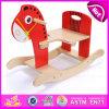 Cavalo de balanço de madeira do brinquedo de 2015 miúdos, cavalo de balanço tradicional dos animais de madeira seguros, brinquedo de madeira W16D059 do cavalo de balanço das crianças do balanço