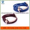 Bracelet en cuir à crochet de corde d'acier inoxydable de bijou de Shineme (BL2849)