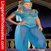 Costume танцульки живота женщин голубой шифоновый сексуальный