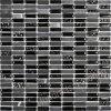 Azulejo de mosaico negro, mosaico de cristal de la mezcla de piedra (HGM252)