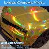 Vinilo del abrigo del coche del cromo del laser del arco iris del color del oro de los canales del aire