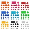 Glattes Full Button Sets MOD Kits für PS4 Controller (Assorted Color)