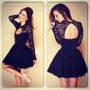 Heiße Euramerican Backless Spitze-lange Hülsen-reizvolles Kleid