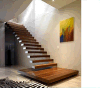 Escalera de madera recta, fábrica modificada para requisitos particulares de la escalera, escaleras de los pasamanos de Frameless