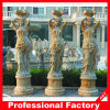 Carving de piedra Yellow Marble romano Column para Home Decoration