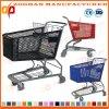 Chariot en plastique de chariot à achats de mode de grand supermarché coloré de Volumn (Zht100)