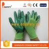 Нитрил зеленого цвета раковины 13 датчиков зеленый Nylon покрывая перчатки ровной отделки работая (DNN344)