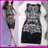 2015 Dessus-End Popular Bead et Lace Embroidery Front Mature Women Black sans manche Formal Occasion Short Dress (C-247)