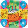 Placa cuadrada coloreada de la fiesta de cumpleaños
