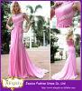 Beste verkaufende lange Ein-Schulter und heißes Rosa-Chiffon- Brautbrautjunfer-Kleider