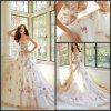 Espaguete White Tulle Red Lace Applique Beading A - linha Bridal Dress W14217