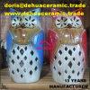 sostenedor de vela de cerámica de la estatuilla del regalo de la decoración del jardín del buho de la porcelana antigua dB1015 para la venta