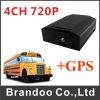Mini cartão móvel DVR do carro 4CH 720p SD do barramento com GPS