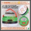 Batteria di litio chiara ricaricabile impermeabile 3.7V2200mAh dell'indicatore luminoso S.O.S. del lavoro di 5W LED