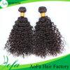 人間の毛髪のWeftインドの毛の織り方のRemyの巻き毛の毛