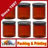 8 Oz Amber Brown Plastic Jars avec couvercles noirs