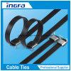 O PVC 201 revestiu o tipo travado asa laço das cintas plásticas do aço inoxidável do fecho de correr
