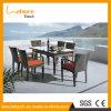 Insieme esterno stabilito di vimini della Tabella pranzante di buona qualità e della mobilia del patio della presidenza