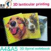 Cuaderno espiral plástico del material 3D de la cubierta de los PP /Pet