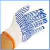 Белые поставленные точки PVC связанные перчатки безопасности хлопка работая