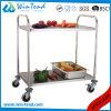 Main d'acier inoxydable poussant le chariot normal à restauration de cuisine de 2 rangées avec des roues