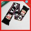 Bufanda acrílica tejida del club del deporte con el logotipo del jacquard