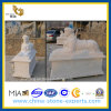 Escultura branca de Polished Marble Stone Lion para o jardim Decoration