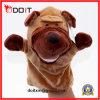 Stuk speelgoed van de Handpop van de Hond van de Baby van de Stof van de pluche het Dierlijke Zachte Grappige
