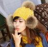 Piel verdadera POM Poms del mapache de la nueva manera para los sombreros de la gorrita tejida