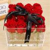 Rectángulo de regalo de acrílico hecho a mano de la flor para el día de tarjeta del día de San Valentín