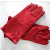 Le cuir fendu de vache, cousent la pleine garniture de mise en couches noire des gants de soudure de 14/16 pouce