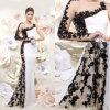 Vestido de noite longo branco We14106 do preto completo do vestido do laço