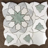 Elegantes Blumen-Blatt formte Warterjet Mischungs-Marmor-Mosaik-Fliesen für Dekoration
