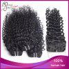 Chiusura peruviana del merletto dei capelli umani riccia