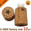 Commande en bois d'instantané d'USB de liège de bouteille de vin