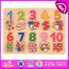 Enigma de madeira educacional pré-escolar do número 2015, reconhecendo o enigma de madeira que joga o jogo, cognição de madeira W14b050 do número do brinquedo da criança